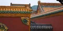 roofs dragons walls manchu imperial palace shenyang liaoning chi - stock photo