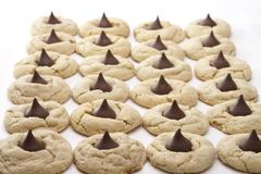 Peanut butter blossom cookies Stock Photos