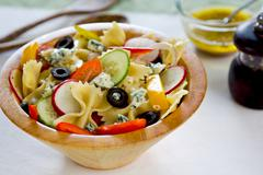 Farfalle with Blue cheese salad Stock Photos