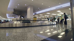 Airport Baggage Claim Carousel Timelapse Side Low POV Stock Footage