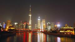 Time lapse of Shanghai Garden Bridge skyline at night - 4K Stock Footage