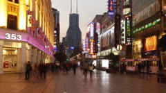 Time lapse of Nanjing Road at night Stock Footage