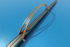 Bridge over the ocean. 3d illustration - stock illustration