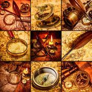 Vintage still life. vintage items on ancient map. Stock Illustration