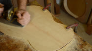 Stock Video Footage of Giving wood planer to flamenco guitar