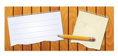 Stock Illustration of banner wood texture with notepad pencil