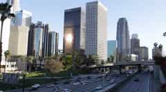 Cars Traffic Jam Freeway USA Downtown Los Angeles LA Busy City Road Highway Day - stock footage