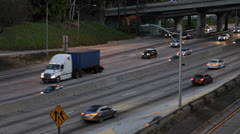 Dusk Downtown Los Angeles LA Highway, Commuters Work to Home Traffic Jam Freeway - stock footage