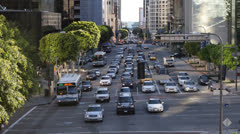 Cars Traffic Commuters Passing Daytime, Busy City Street in Downtown Los Angeles Stock Footage