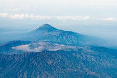 big volcano crater, bird's eye view. - stock photo