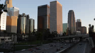 Sunset Traffic Jam on Freeway USA, Downtown Los Angeles, LA, California, Highway Stock Footage