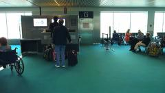 People Waiting at Airport Gate Stock Footage