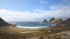 Panoramic view of Lofoten coastline Stock Footage