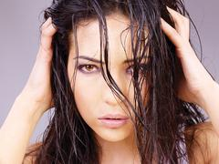 woman with wet hair - stock photo