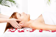 head and temple massage - stock photo