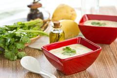 Creamy Potatoes soup Stock Photos