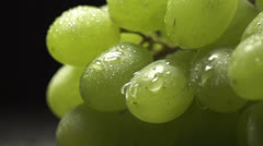 Bunch of green grapes with water drops Stock Footage