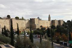 jerusalem, israel - december 19: ancient city wall on december 19, 2012  in j - stock photo