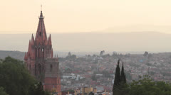 Church San Miguel Arcángel and town of San Miguel de Allende Mexico Stock Footage