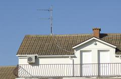 Roof with antenna Stock Photos