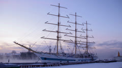 "Stock Video Footage of sailfish ""Mir"", Saint-Petersburg, Russia, 19 JAN 2013"