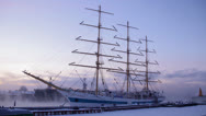 "Stock Video Footage of sailfish ""Mir"", Saint-Petersburg, Russia, 19 JAN 2013"
