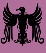 hearldry tribal eagle vector art - stock illustration