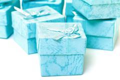 cyan gift boxes - stock photo