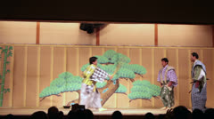 Stock Video Footage of Kyigen theater with comical actors. Gion Corner, Kyoto, Japan