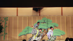 Stock Video Footage of Comical actors performing life scene in Gion Corner, Kyoto, Japan