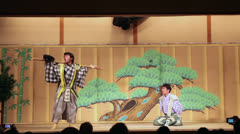 Kyigen theater with comic actors in Gion Corner, Kyoto, Japan Stock Footage