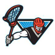 lacrosse player crosse stick - stock illustration
