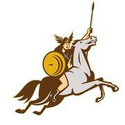 Valkyrie amazon warrior horse rider Stock Illustration