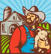 Pig farmer holding piglet barn retro. Stock Illustration