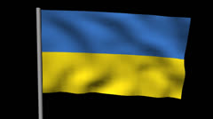Zooming out from pyramid of men with rippling Ukraine flag animation Stock Footage