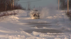 Jeep Driving Through Snow Drifts Stock Footage