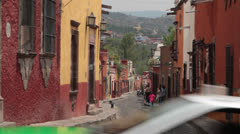 Colored street of colonial city San Miguel de Allende Mexico Stock Footage