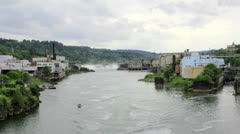 Willamette Falls is a Natural Waterfall in Oregon City 1080p Stock Footage