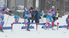 Skiing start competition Stock Footage