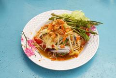 papaya salad with horse crab - stock photo