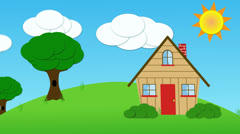 Animated house and clouds and sun - stock footage