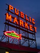 Pike place public market sign over puget sound seattle washington Stock Photos