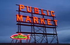City fish public market neon sign seattle washington Stock Photos