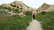 Stock Video Footage of Tourist watching cave house Famous city  Cappadocia