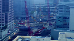 Time lapse shot of construction workers at sunrise Stock Footage