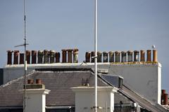 Row of chimneys on dover building Stock Photos