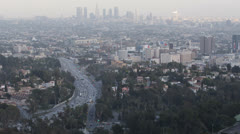 Los Angeles Skyline, Hollywood by day, Highway, construction, road, LA cityscape Stock Footage