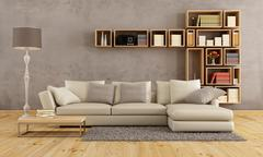 living room with elegant sofa - stock illustration