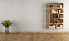 empty interior with wall bookcase - stock illustration