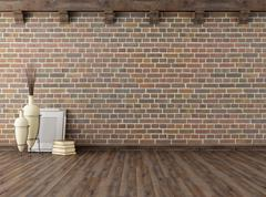 empty vintage interior with brick wall - stock illustration